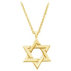 Round Diamond Yellow Gold Star of David Pendant Necklace