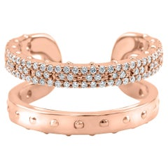 Round Diamonds 14 Karat Rose Gold Fashion Stackable Horseshoe Cocktail Band Ring