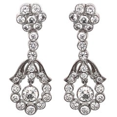 Round Diamonds 2.36 Carat Platinum Dangling Earrings