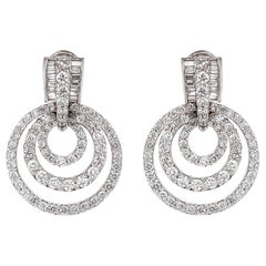 Round Diamonds 6.18 Carat Multi Layer Hoop Platinum Earrings