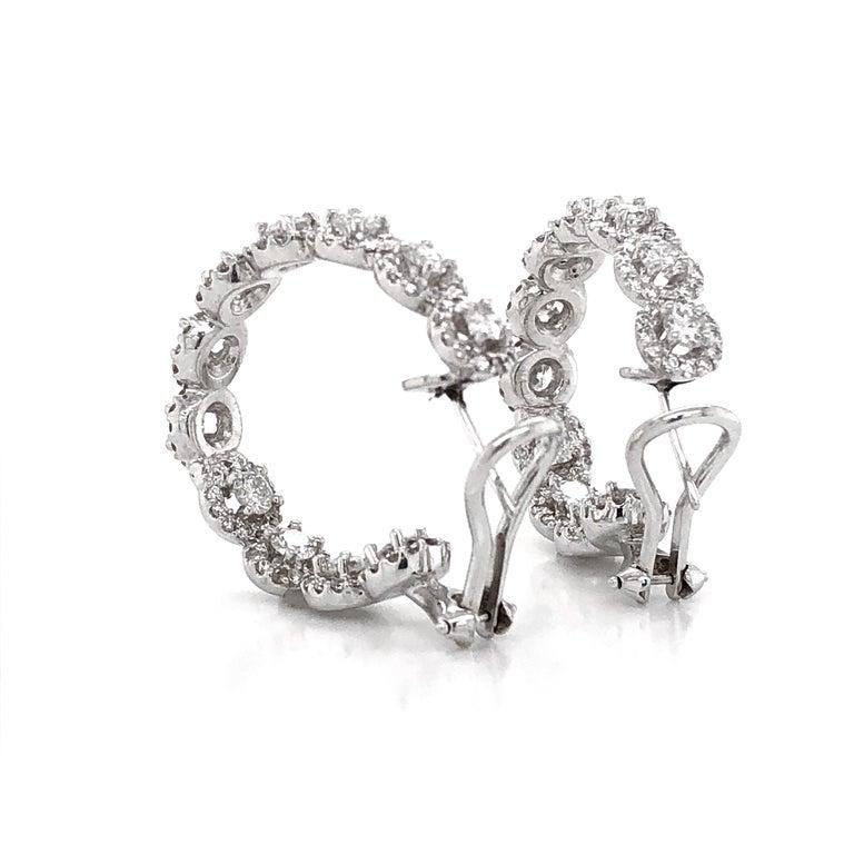 Contemporary Round Diamonds 7.23 Carat Half Loop 18 Karat Gold Earrings For Sale