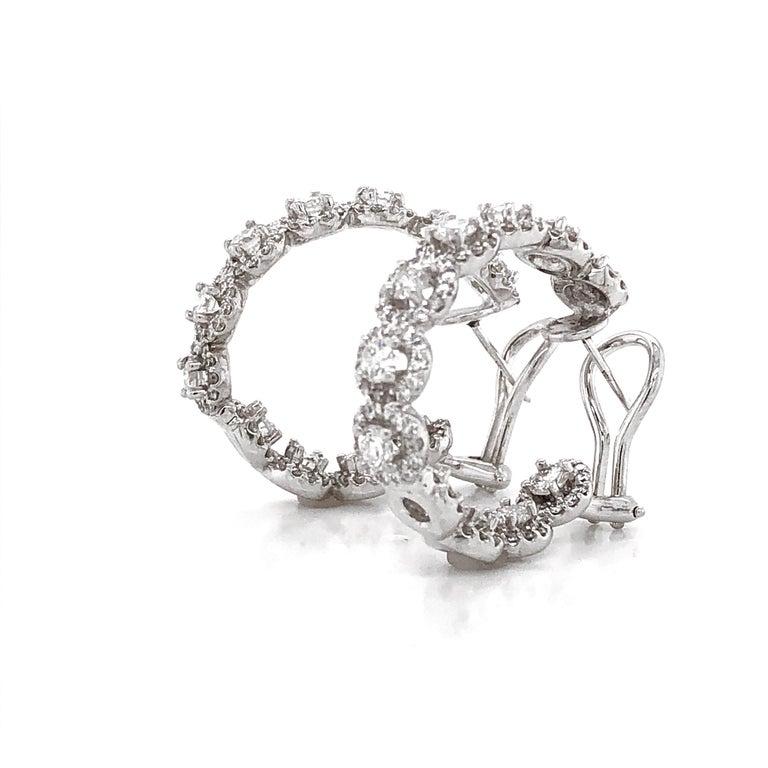 Marquise Cut Round Diamonds 7.23 Carat Half Loop 18 Karat Gold Earrings For Sale