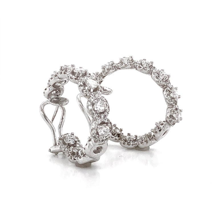 Women's Round Diamonds 7.23 Carat Half Loop 18 Karat Gold Earrings For Sale