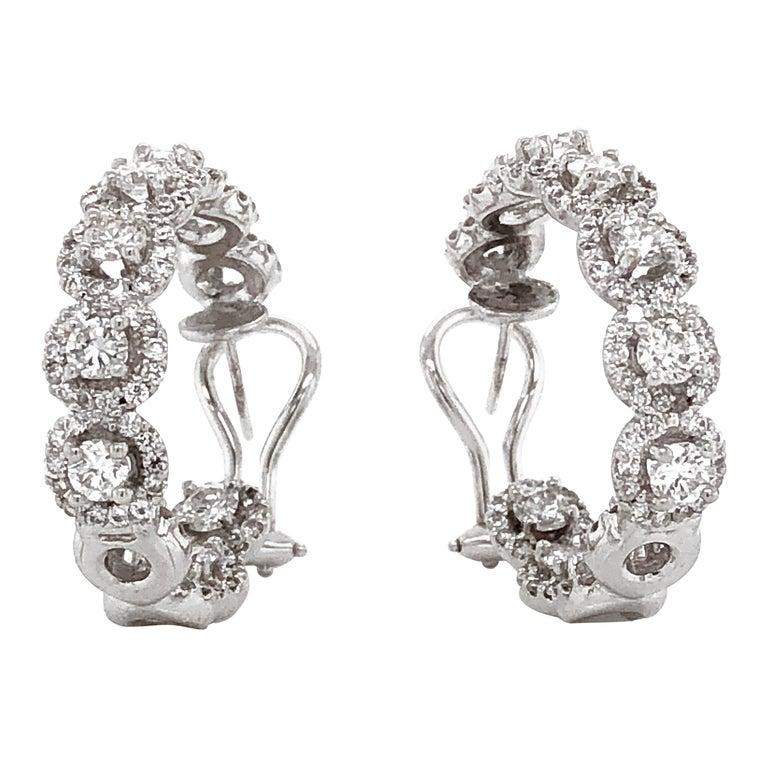 Round Diamonds 7.23 Carat Half Loop 18 Karat Gold Earrings For Sale