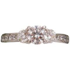 Round Diamonds Three-Stone Engagement Ring 1.00 Carat in Platinum