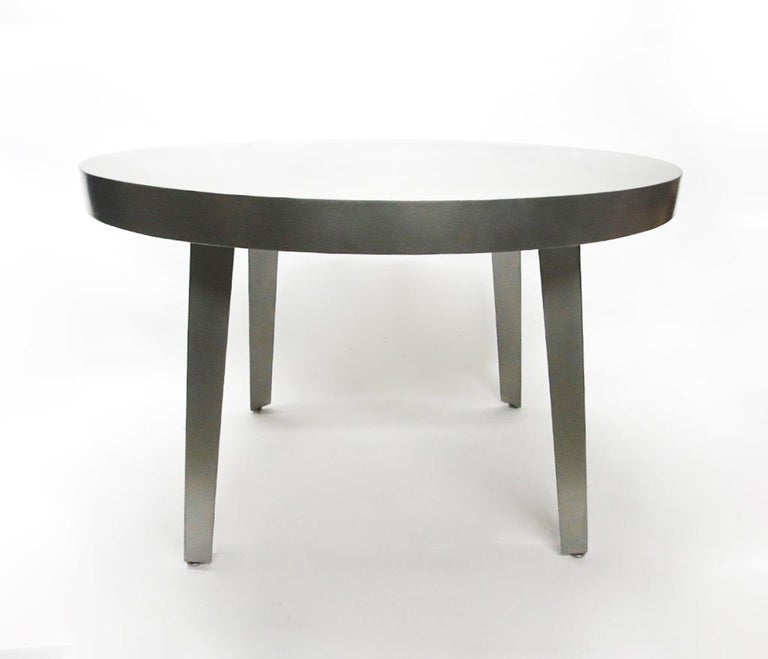 Round Dining / Center Table in Brushed Steel, NYC Circa 2005 In Good Condition For Sale In Jersey City, NJ