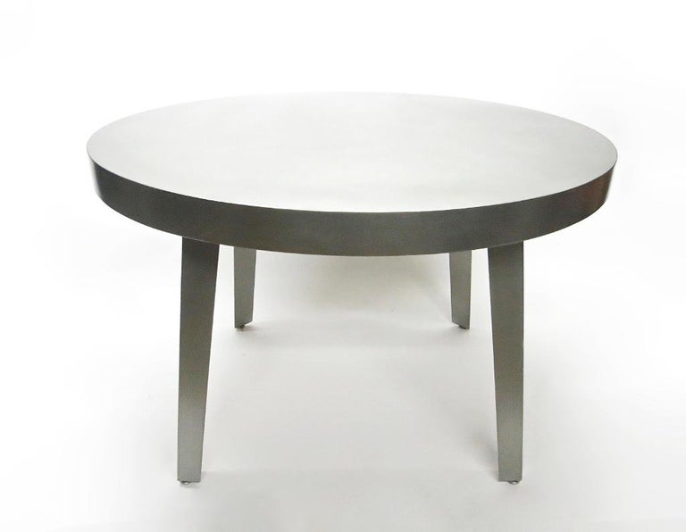 Contemporary Round Dining / Center Table in Brushed Steel, NYC Circa 2005 For Sale