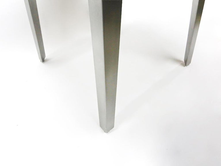 Round Dining / Center Table in Brushed Steel, NYC Circa 2005 For Sale 1