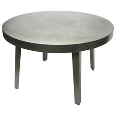 Round Dining / Center Table in Brushed Steel, NYC, circa 2005