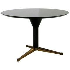 Round Dining Table Attributed to Melchiorre Bega in Black Wood and Brass, 1950s