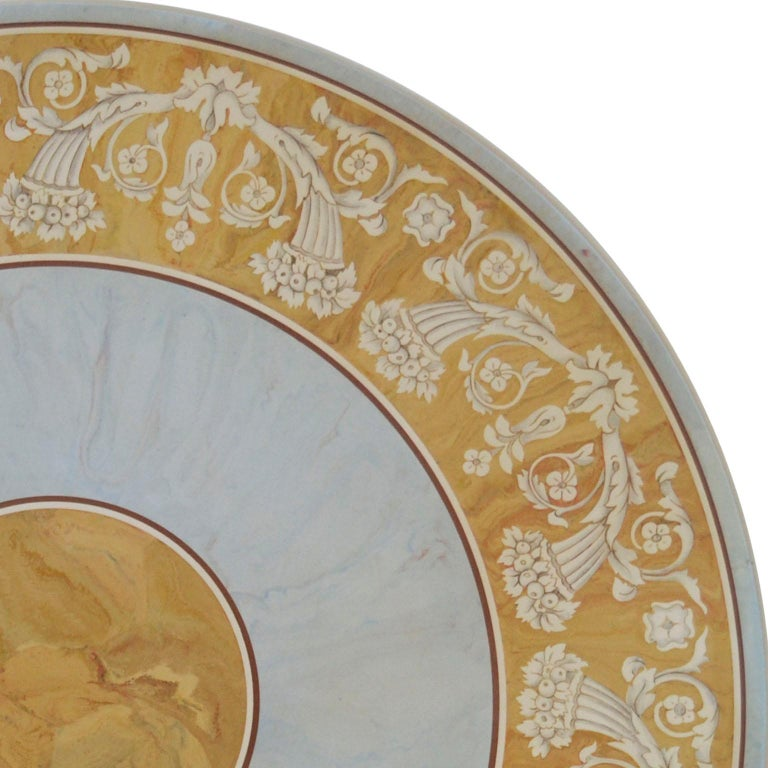 Empire Round Dining Table Classic Scagliola Art Inlay Marbled Wood Base Gold Details For Sale