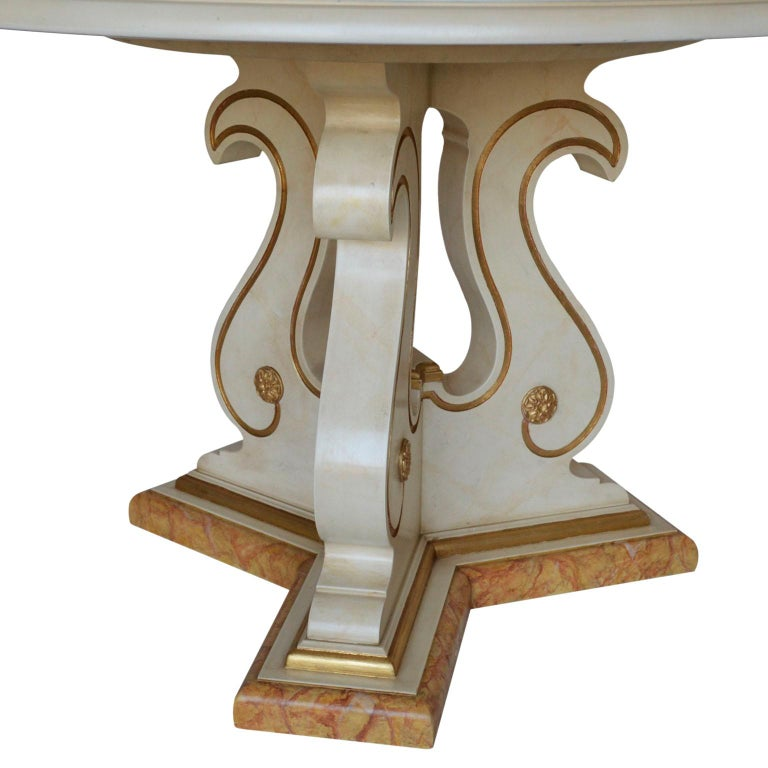 Painted Round Dining Table Classic Scagliola Art Inlay Marbled Wood Base Gold Details For Sale