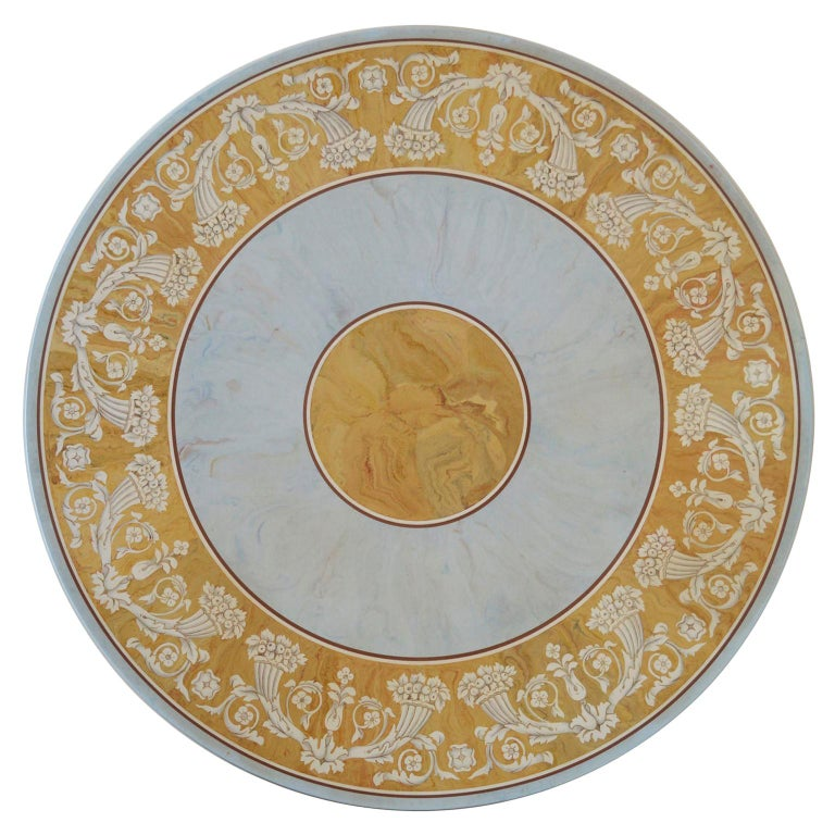 Round Dining Table Classic Scagliola Art Inlay Marbled Wood Base Gold Details For Sale
