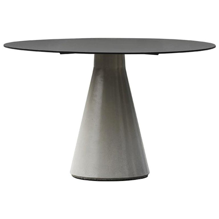 Round Dining Table 'DING' Made of Concrete and Aluminum For Sale