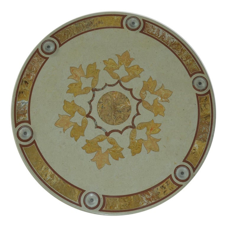 Arts and Crafts Round Dining Table Extra Clear Crystal Glass Top Art Inlay Cream Marble Column For Sale