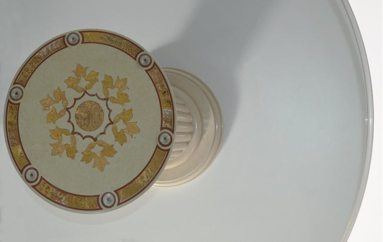 Italian Round Dining Table Extra Clear Crystal Glass Top Art Inlay Cream Marble Column For Sale