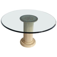 Round Dining Table Extra Clear Crystal Glass Top Art Inlay Cream Marble Column