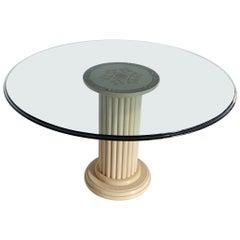 Round Dining Table Crystal Glass Top Art Inlay Cream Marble Column handmade