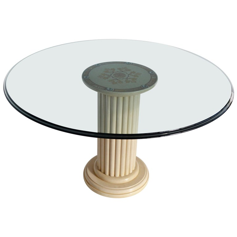 Round Dining Table Extra Clear Crystal Glass Top Art Inlay Cream Marble Column For Sale