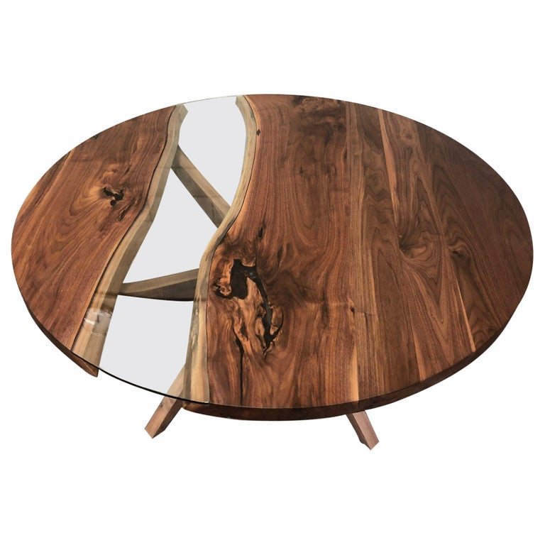 Round Dining Table in Black Walnut  For Sale