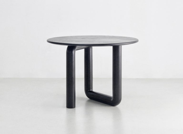 Modern Round Dining Table in Ebonized Ash by Objects & Ideas For Sale