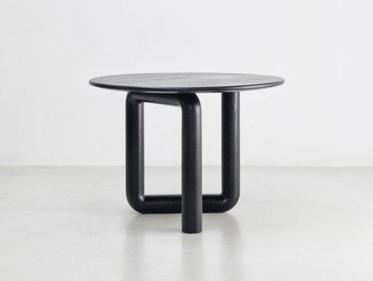 Canadian Round Dining Table in Ebonized Ash by Objects & Ideas For Sale
