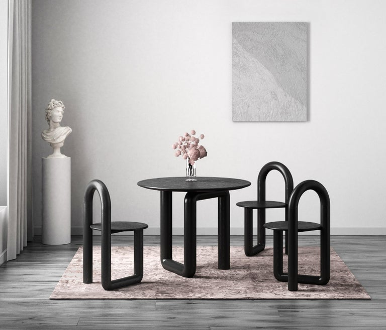 Contemporary Round Dining Table in Ebonized Ash by Objects & Ideas For Sale