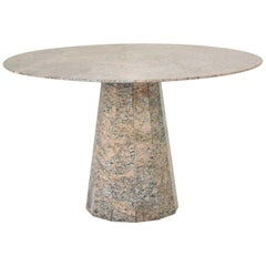 Round Dining Table in Granite from the 1970s