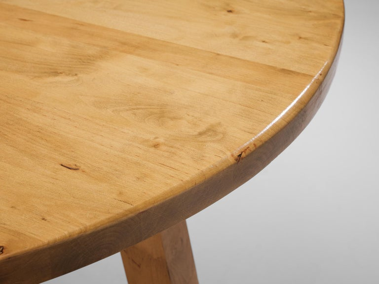 Mid-20th Century Round Dining Table in Pine For Sale