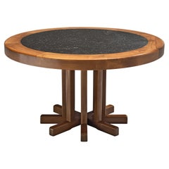 Round Dining Table in Solid Elm with Slate Inlay