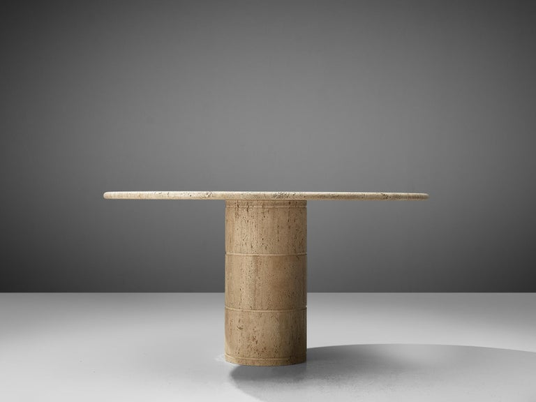 Post-Modern Round Dining Table in Travertine For Sale