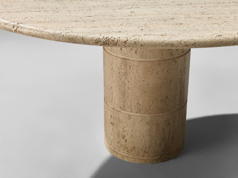 European Round Dining Table in Travertine For Sale