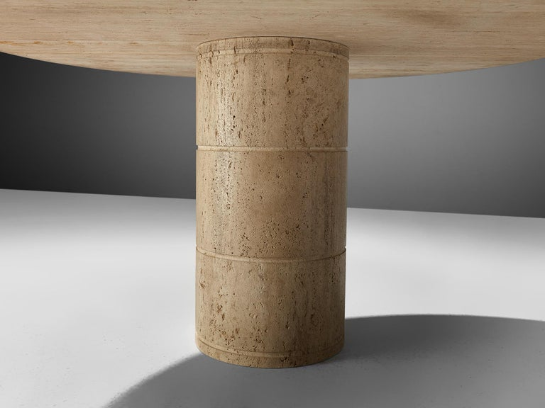 Round Dining Table in Travertine For Sale 1
