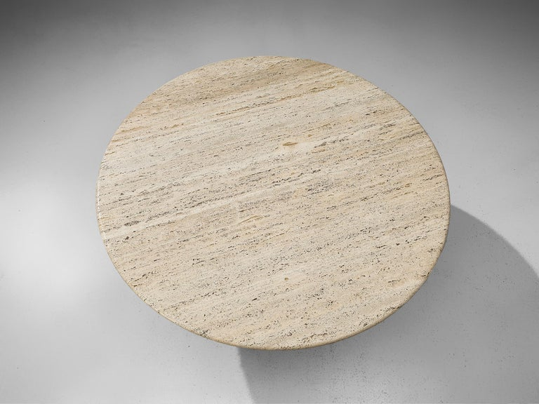 Round Dining Table in Travertine For Sale 2