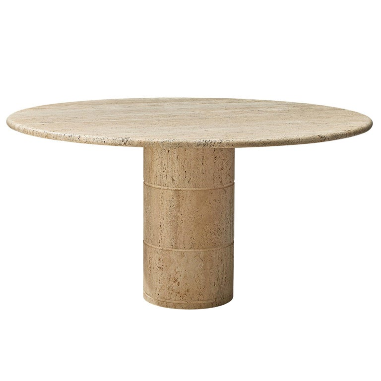 Round Dining Table in Travertine For Sale
