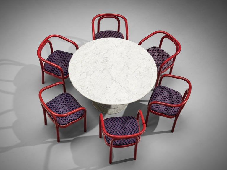 Round dining table, round dining table, white marble, Italy, 1970s
