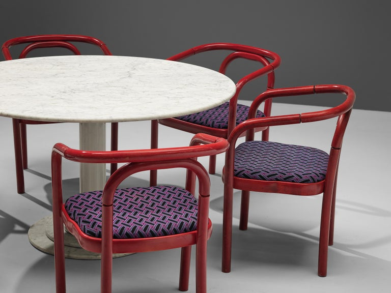 European Round Dining Table in White Marble with TON Armchairs in Red Wood For Sale