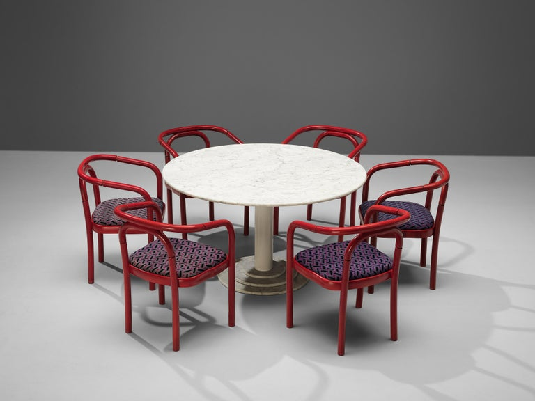 Round Dining Table in White Marble with TON Armchairs in Red Wood For Sale 1