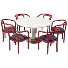 Round Dining Table in White Marble with TON Armchairs in Red Wood