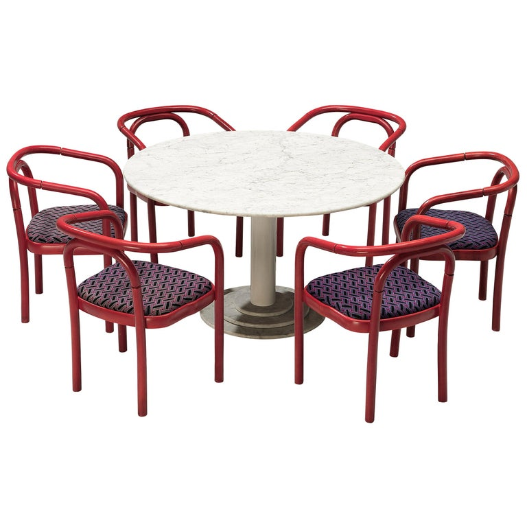 Round Dining Table in White Marble with TON Armchairs in Red Wood For Sale