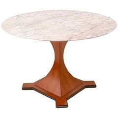 Round Dining Table with a Veined Portuguese Pink Marble-Top, Italy, 1950s