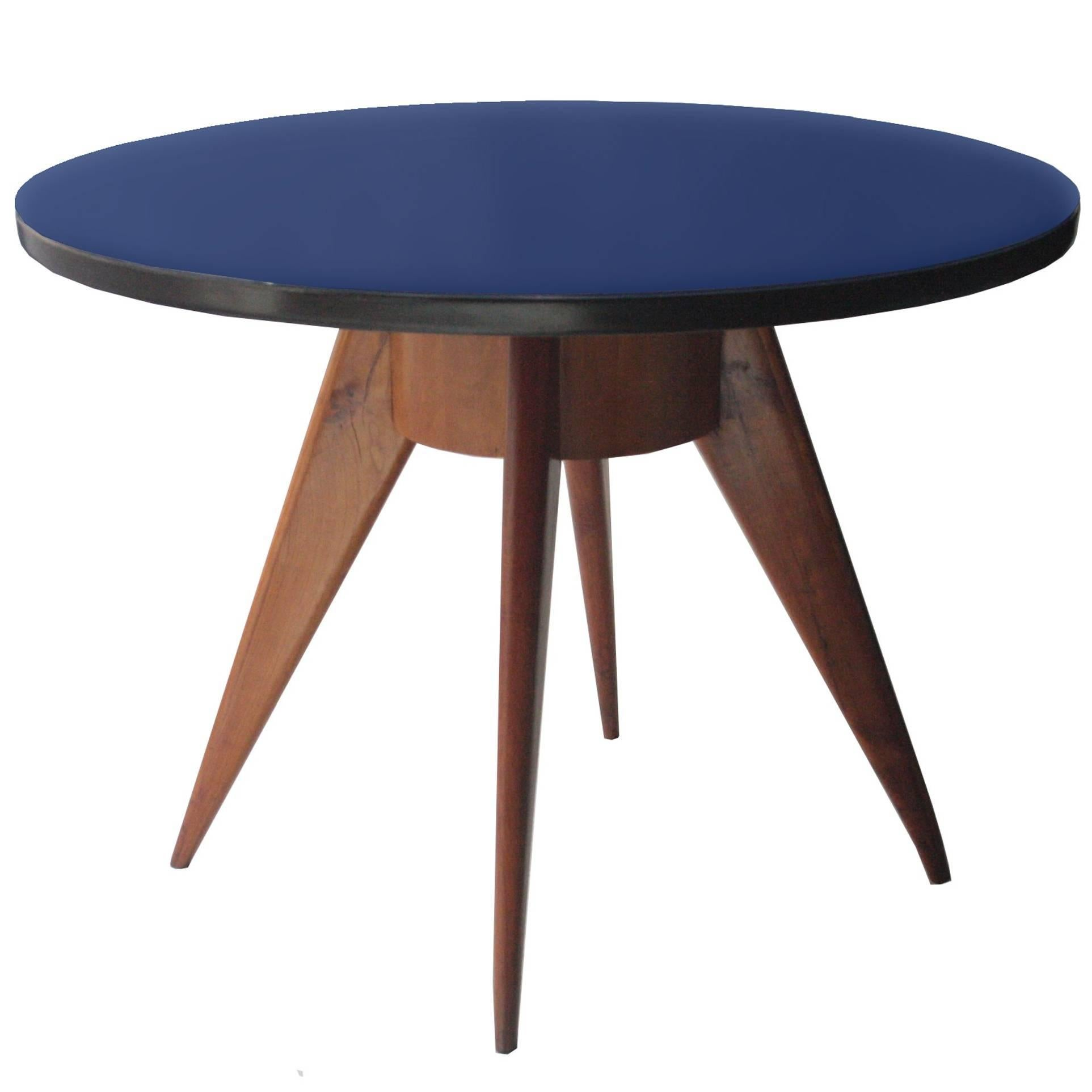 Beautiful Round Dining Table With Ashwood Structure, Blue Glass Top Klein, Italy, 1950  For