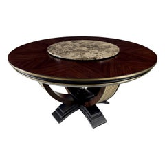 Round Dining Table with Emperador Marble Lazy Susan