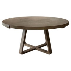 Round Dining Table with Lazy Susan 150cm Interlock André Fu Living Grey Oak