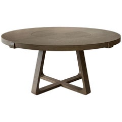 Round Dining Table With Lazy Susan 160cm Interlock André Fu Living Grey Oak New