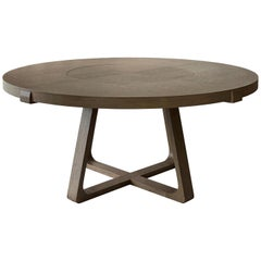 Round Dining Table with Lazy Susan 180cm Interlock André Fu Living Grey Oak