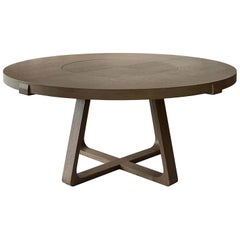 Round Dining Table With Lazy Susan 140cm Interlock André Fu Living Grey Oak New