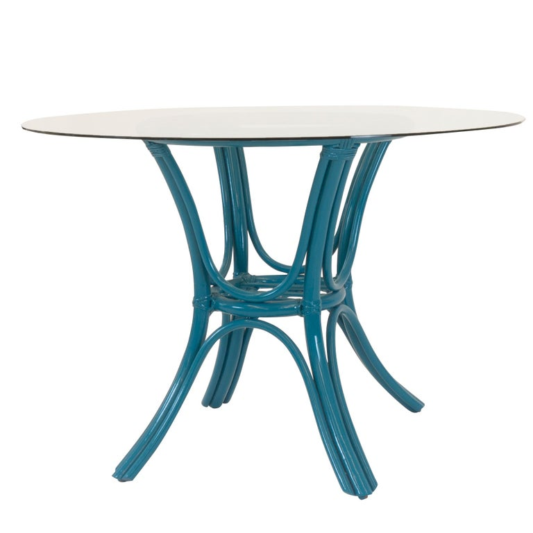 Lacquered Round Dining Table with Rattan Base For Sale