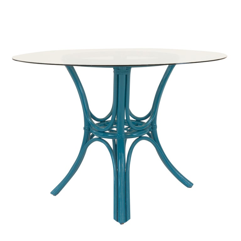 20th Century Round Dining Table with Rattan Base For Sale