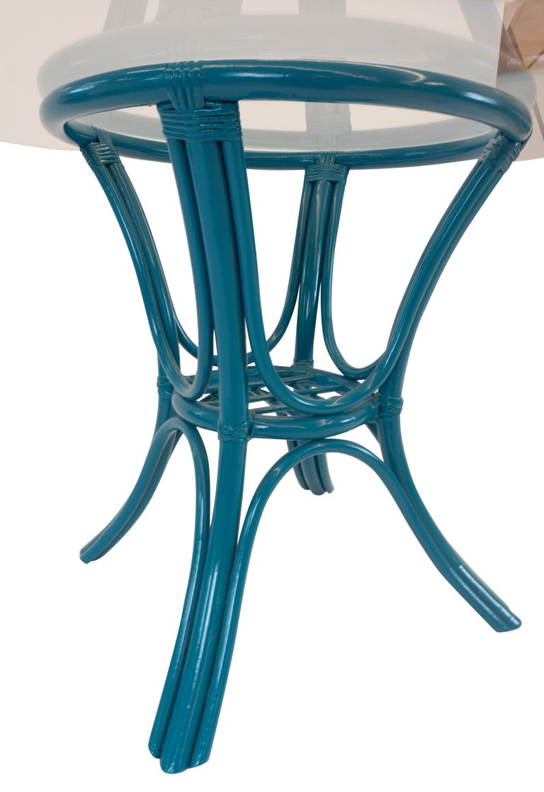 Round Dining Table with Rattan Base For Sale 2